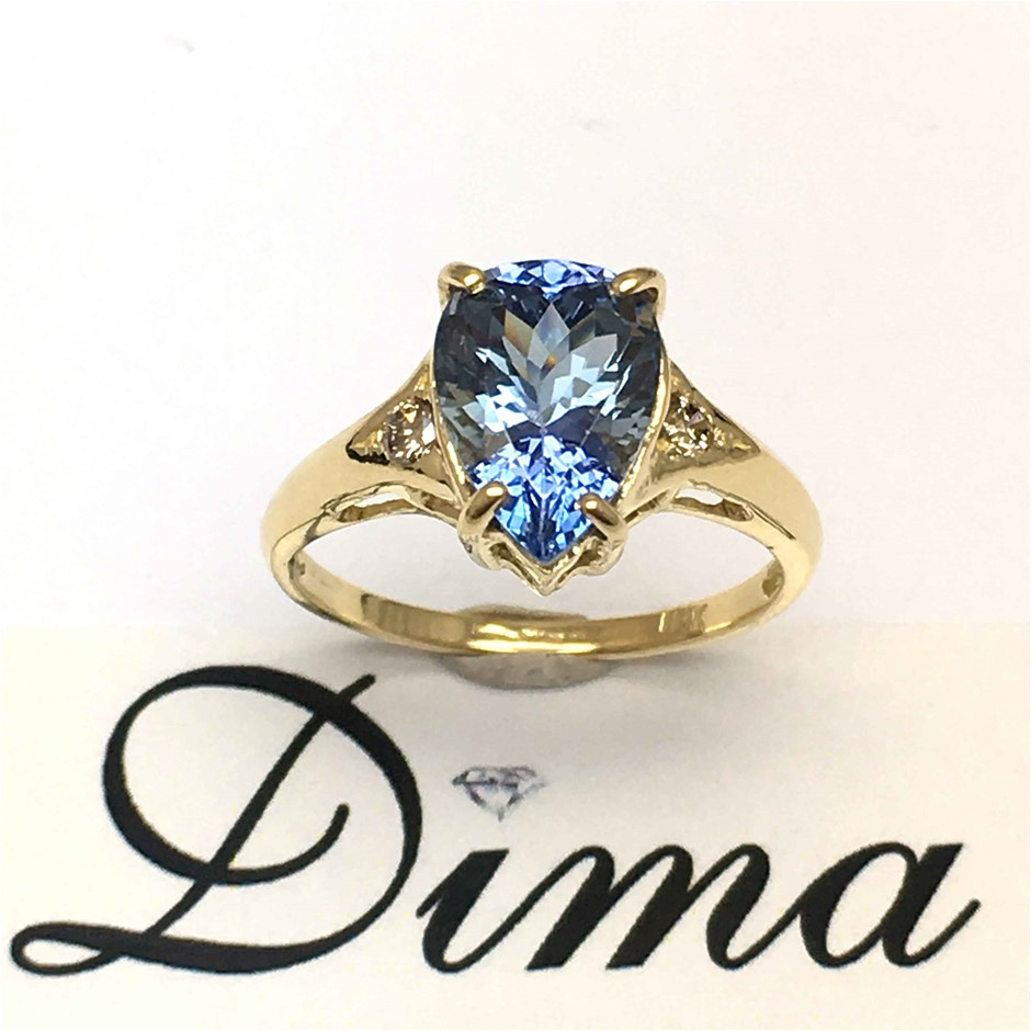 18ct Yellow Gold, 2.81ct Tanzanite and Diamond Ring