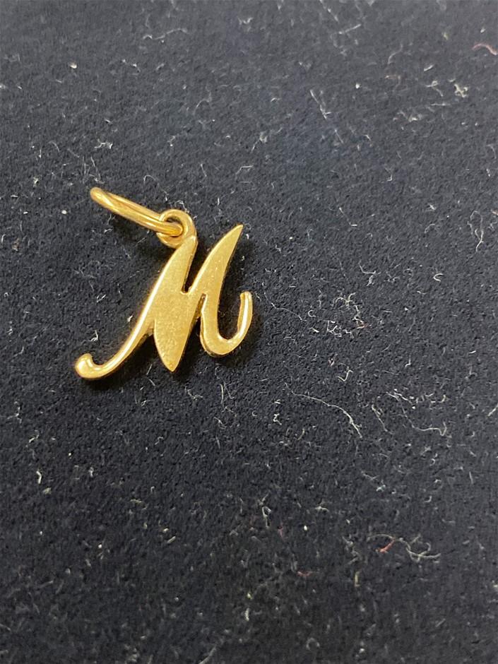 Gold Letter Pendant 9 Karat Yellow Gold Features Lett