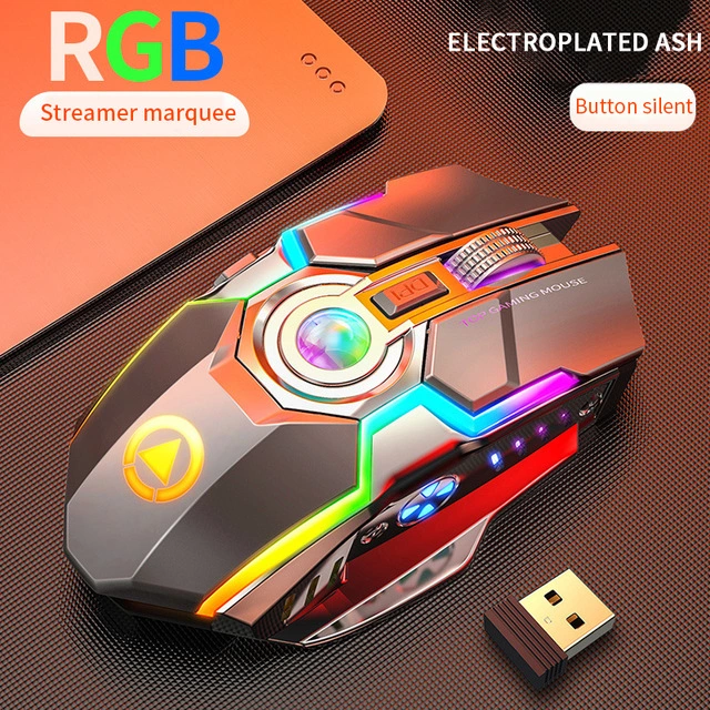 Wireless Gaming Mouse Rechargeable 7 Keys RGB Backlit 1600 DPI Mouse