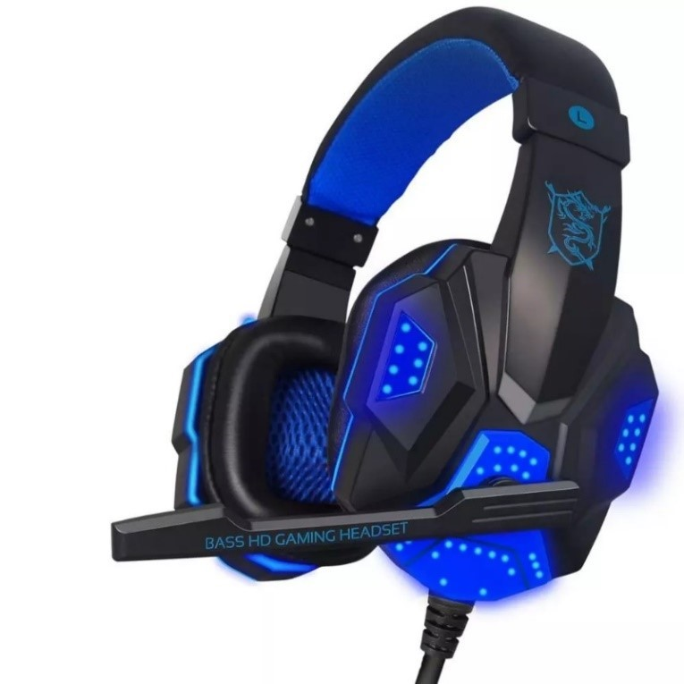 PC799 Stereo Gaming Headphones Headsets Blue and Black
