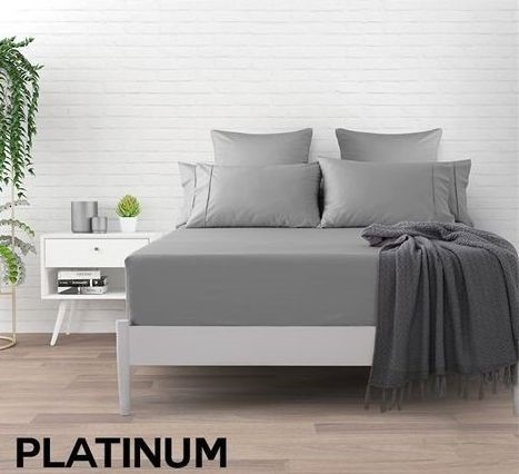 Dreamaker 500 TC Cotton Sateen Fitted Sheet King Bed - Platinum