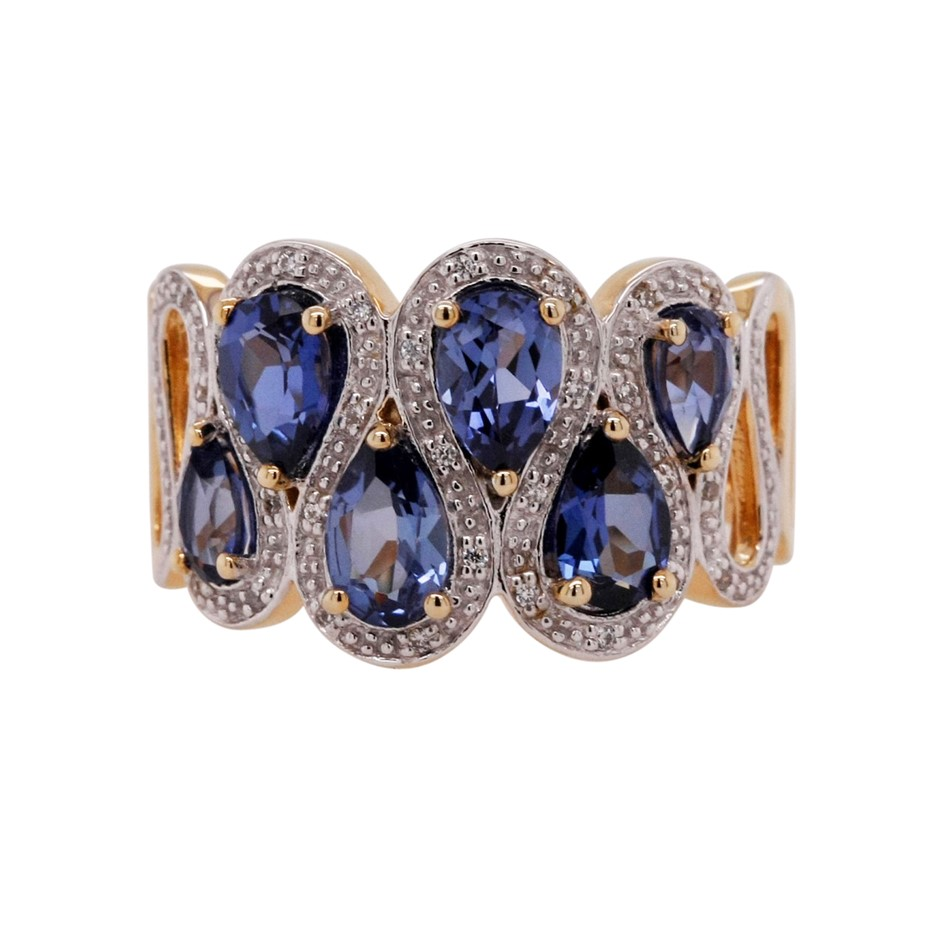 Ladies Yellow Gold Vermeil Ceylon Sapphire (CR) & White CZ Dress Ring.
