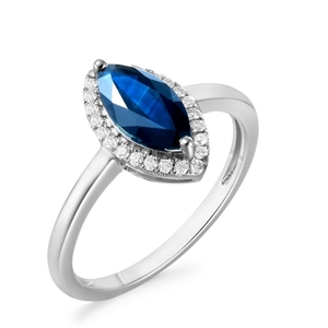 9ct White Gold, 1.28ct Blue Sapphire and