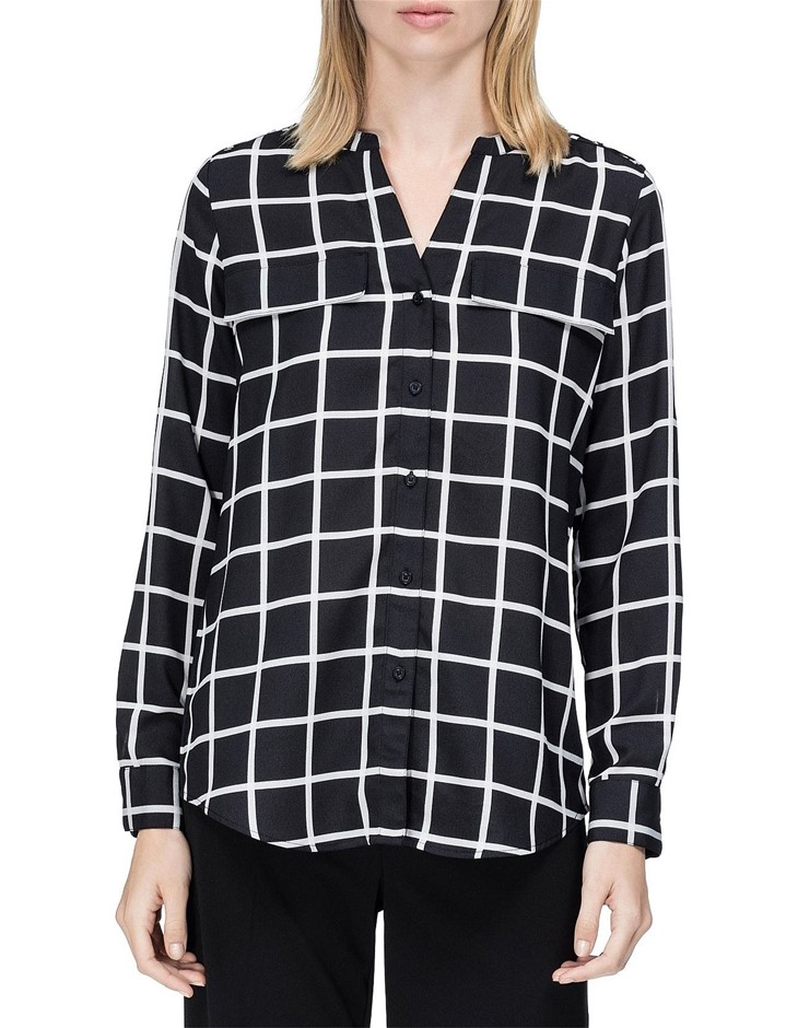 CALVIN KLEIN Printed Crew Roll Sleeve. Size L, Colour: Black/White. Buyers