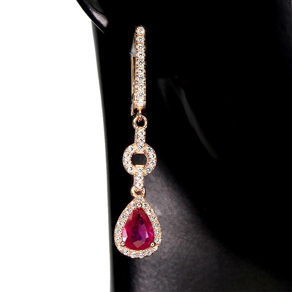 Spectacular Genuine Ruby Drop Earrings