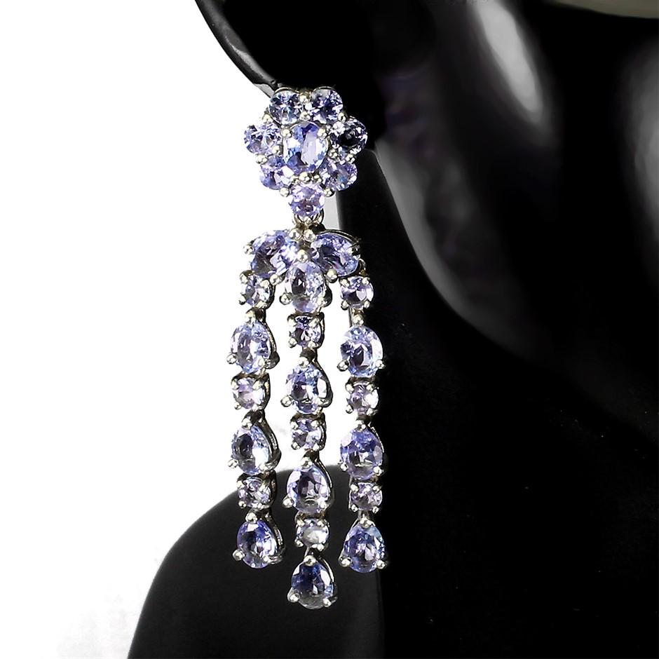 Spectacular Genuine Tanzanite Drop Earrings.