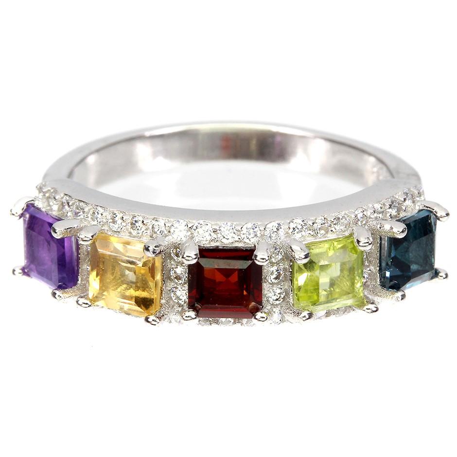Beautiful Genuine Multigem Ring.