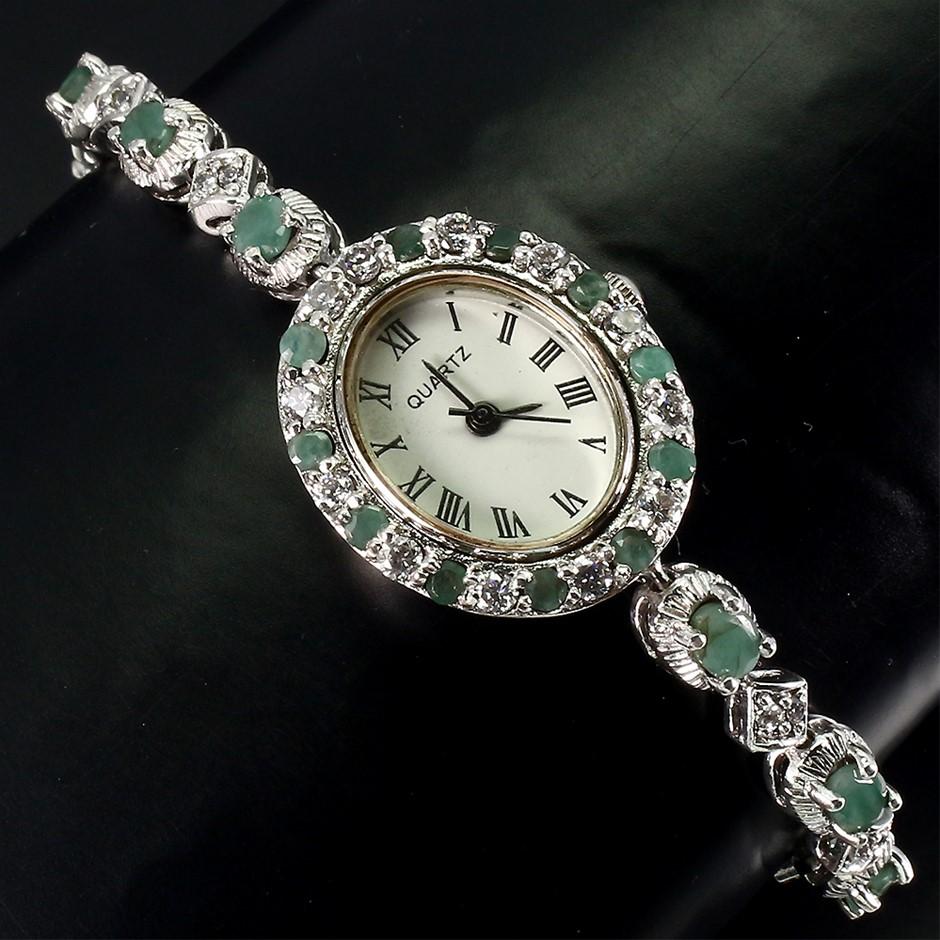 Spectacular Genuine Emerald Watch