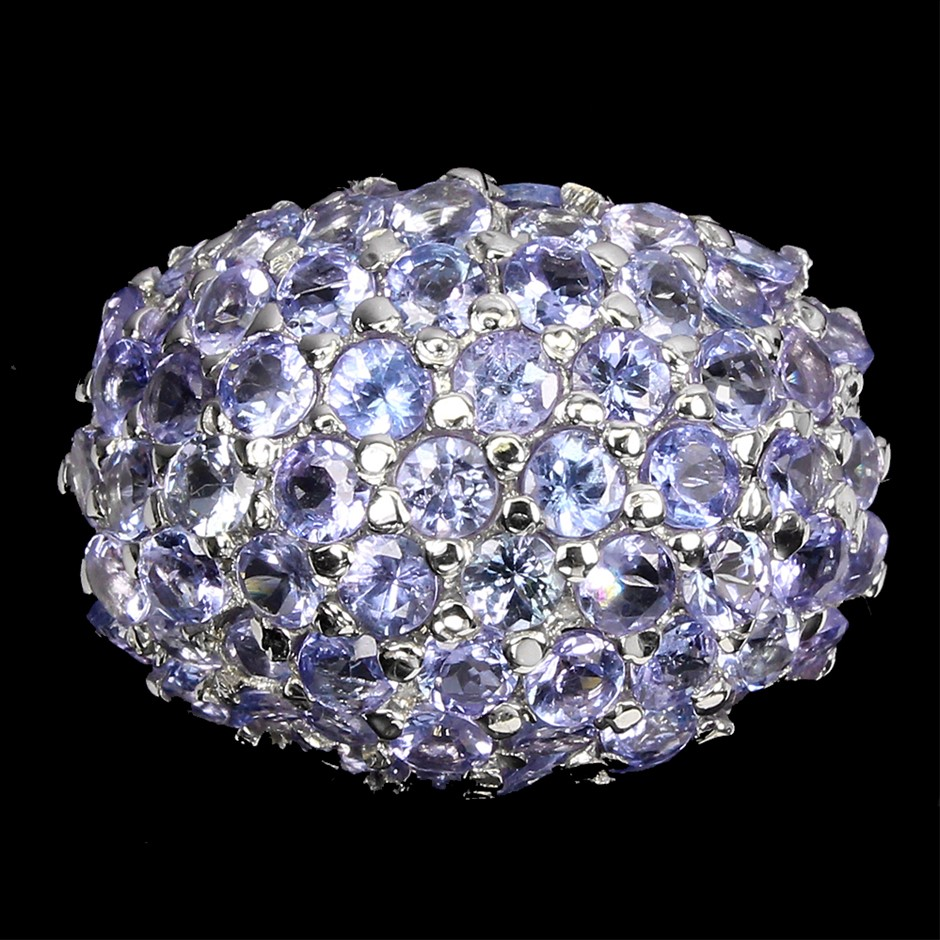 Amazing Genuine Tanzanite Cluster Ring
