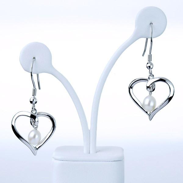 White freshwater pearl heart shaped earrings in sterling silver