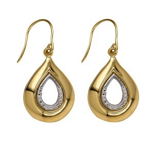 9ct Yellow Gold Diamond Set Teardrop Earwires