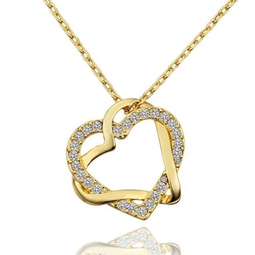 18K Gold plated Women's Love Heart Pendant Necklace
