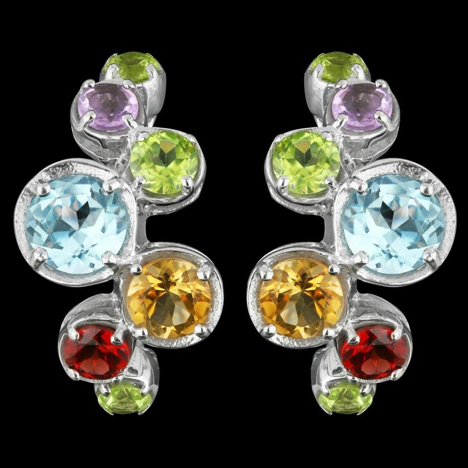 Multi Gemstone Earrings Genuine 925 silver