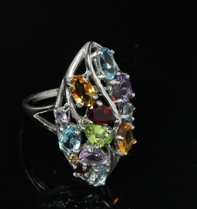 Unique Multi Gemstone Ring 925 silver