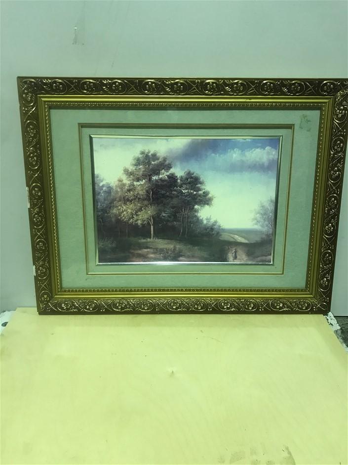 Framed Painting In Gold Gilded Frame