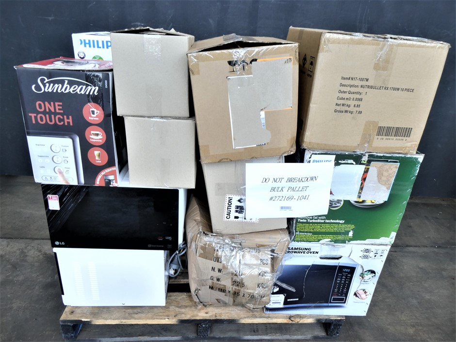 Pallet Containing ASSORTED USED AND UNTESTED KITCHEN AND HOME APPLIANCES