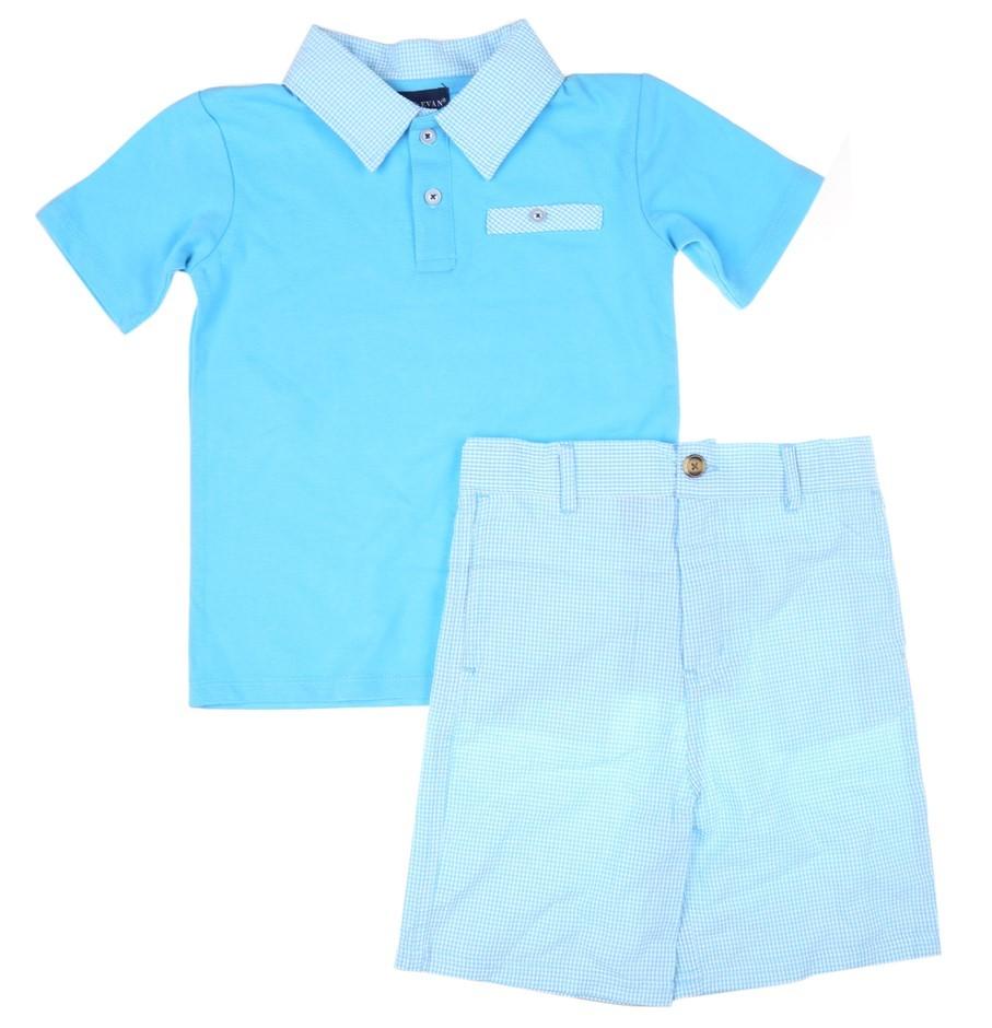 ANDY & EVAN Boy`s 2pc Clothing Set, Incl; Polo Shirt & Shorts, Size 6, Cott