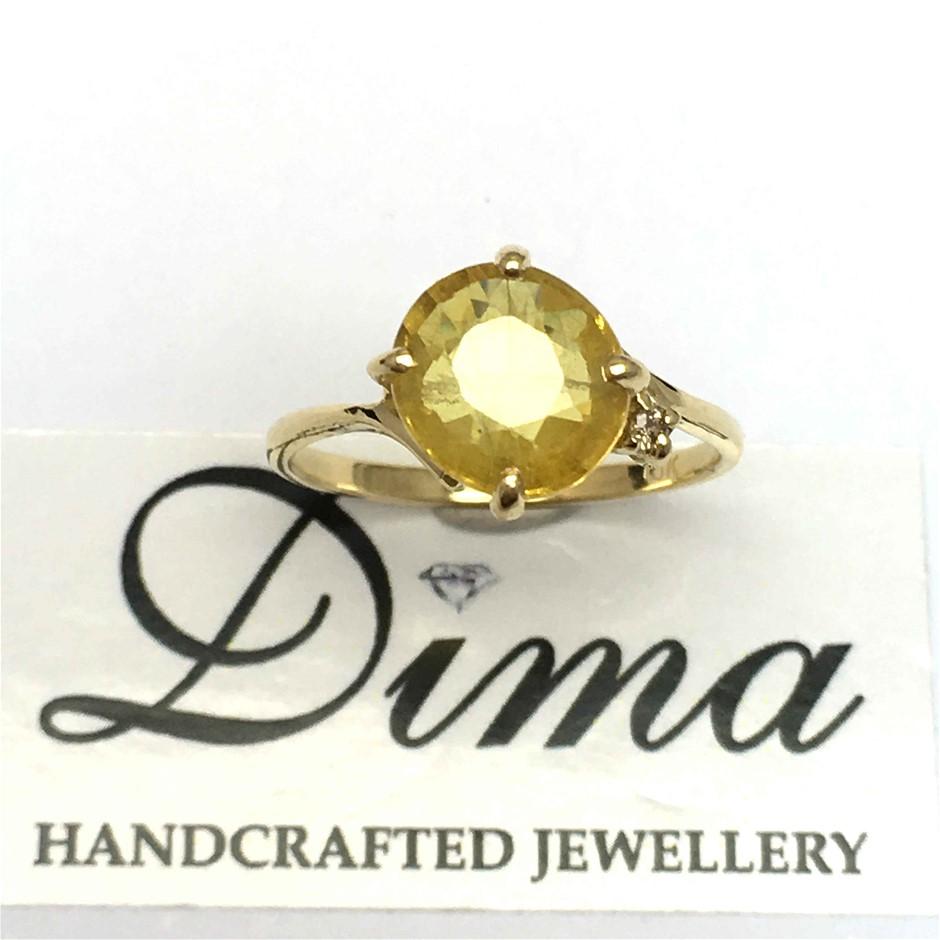 18ct Yellow Gold, 2.60ct Yellow Sapphire and Diamond Ring