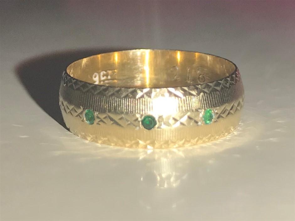 Vintage 9 carat stamped solid gold ring + stones (Pooraka, SA)