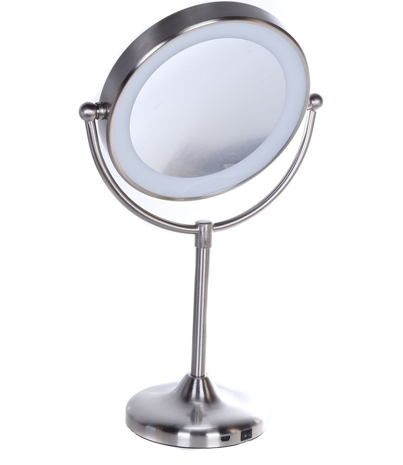 FEIT ENHANCE Rechargebable LED Vanity Mirror Touch Control Base, Brushed Ni
