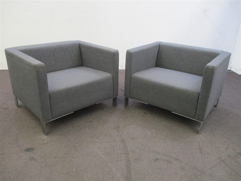 Qty 2 x Charcoal Arm Chairs
