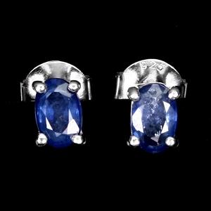 Genuine Sapphire Stud Earrings