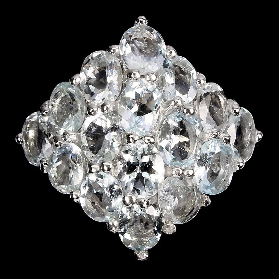 Glorious Genuine aquamarine Cluster Ring.