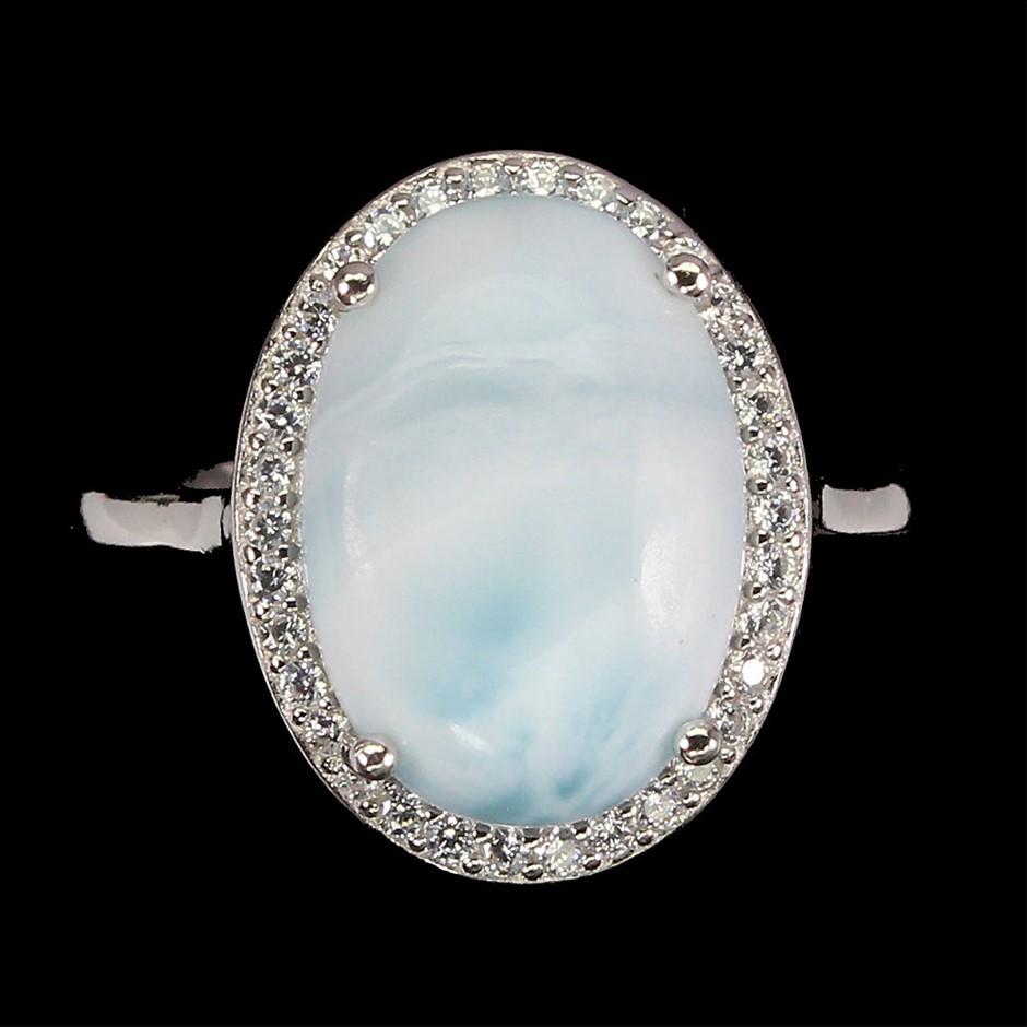 Beautiful Genuine Larimar Ring.