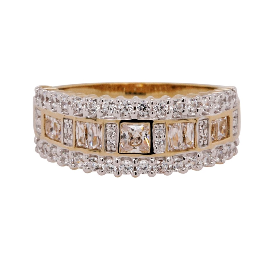 Ladies Gold Vermeil & White CZ Dress Ring.