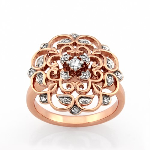 Ladies Rose Gold Vermeil White CZ Dress Ring.