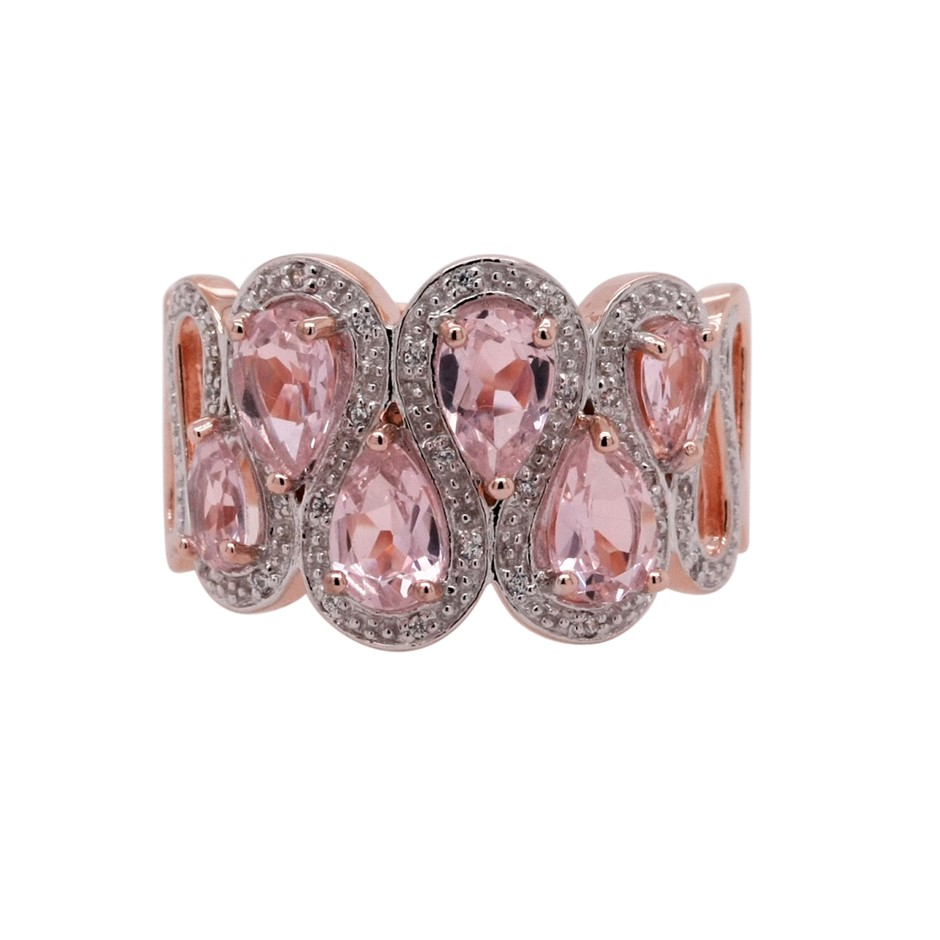 Ladies Pink Gold Vermeil Morganite (CR) & White CZ Dress Ring.