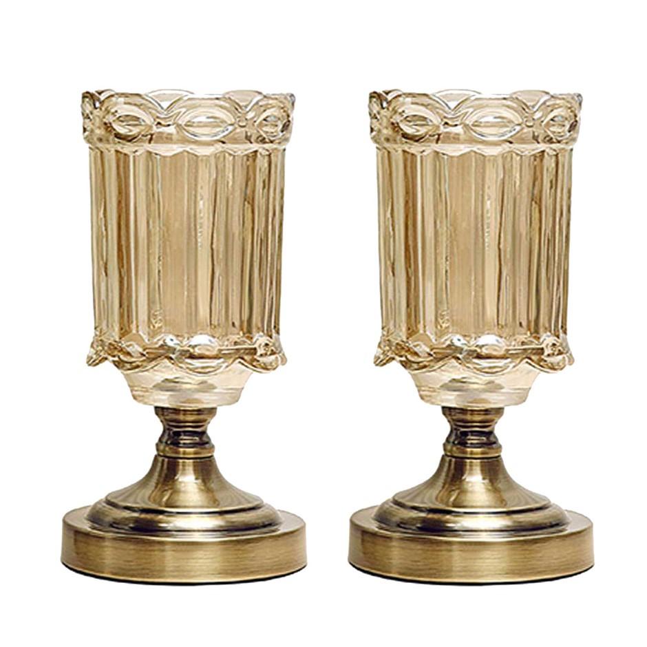 SOGA 2X 25cm Transparent Glass Flower Vase with Metal Base Filler Vase