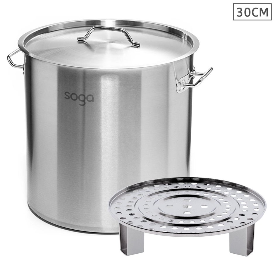 SOGA 30cm S/S Stock Pot w/ One Steamer Rack Insert Stockpot Tray