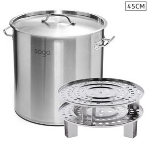 SOGA 45cm S/S Stock Pot w/ Two Steamer R