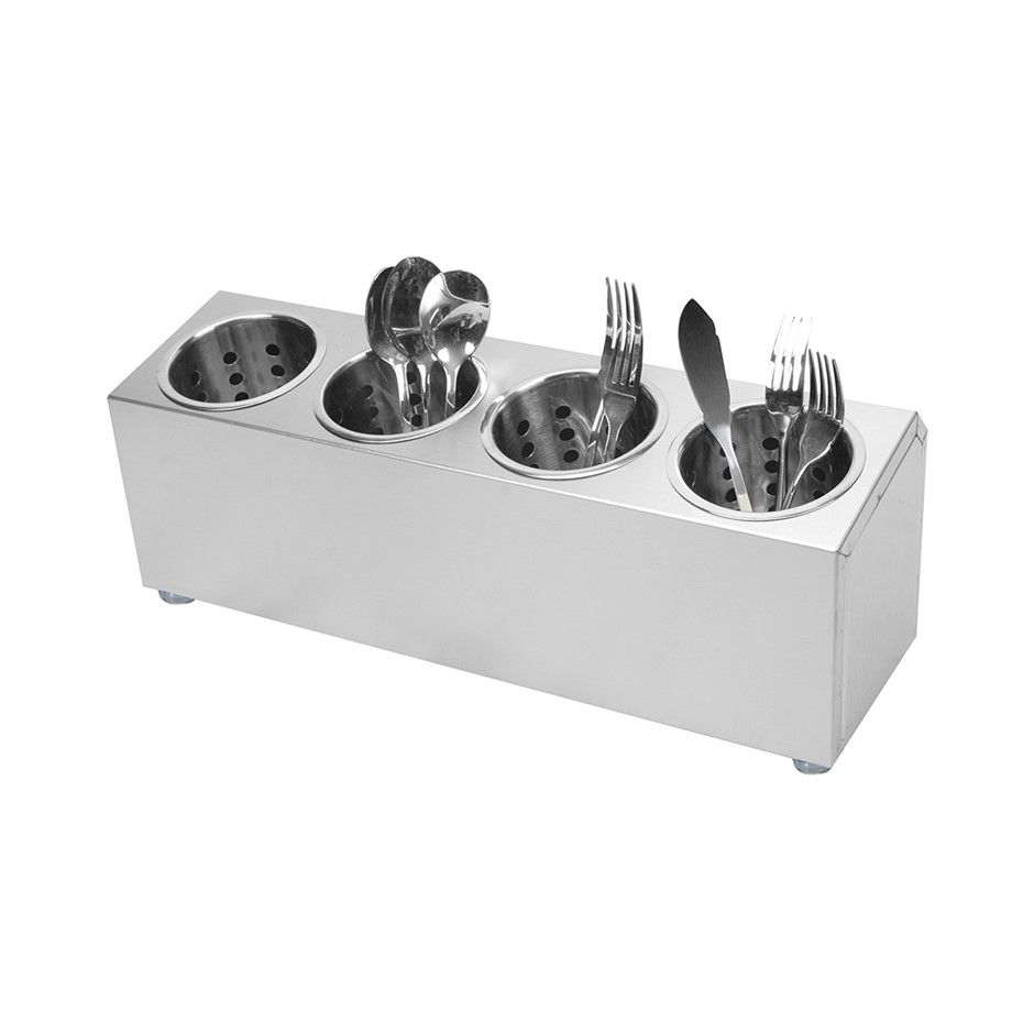 SOGA 18/10 S/S Commercial Conical Utensils Cutlery Holder w/ 4 Holes