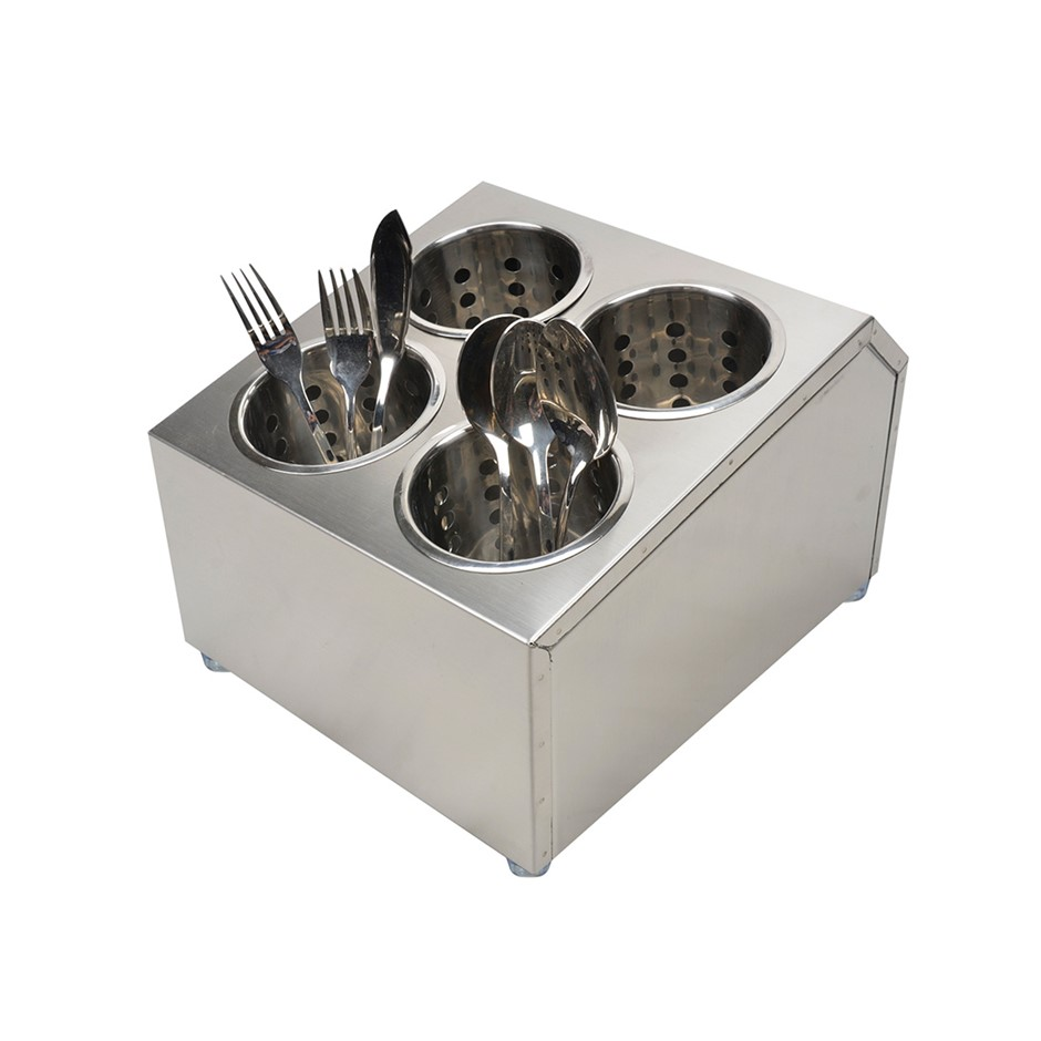 SOGA 18/10 S/S Commercial Conical Utensils Square Cutlery Holder w/ 4 Holes