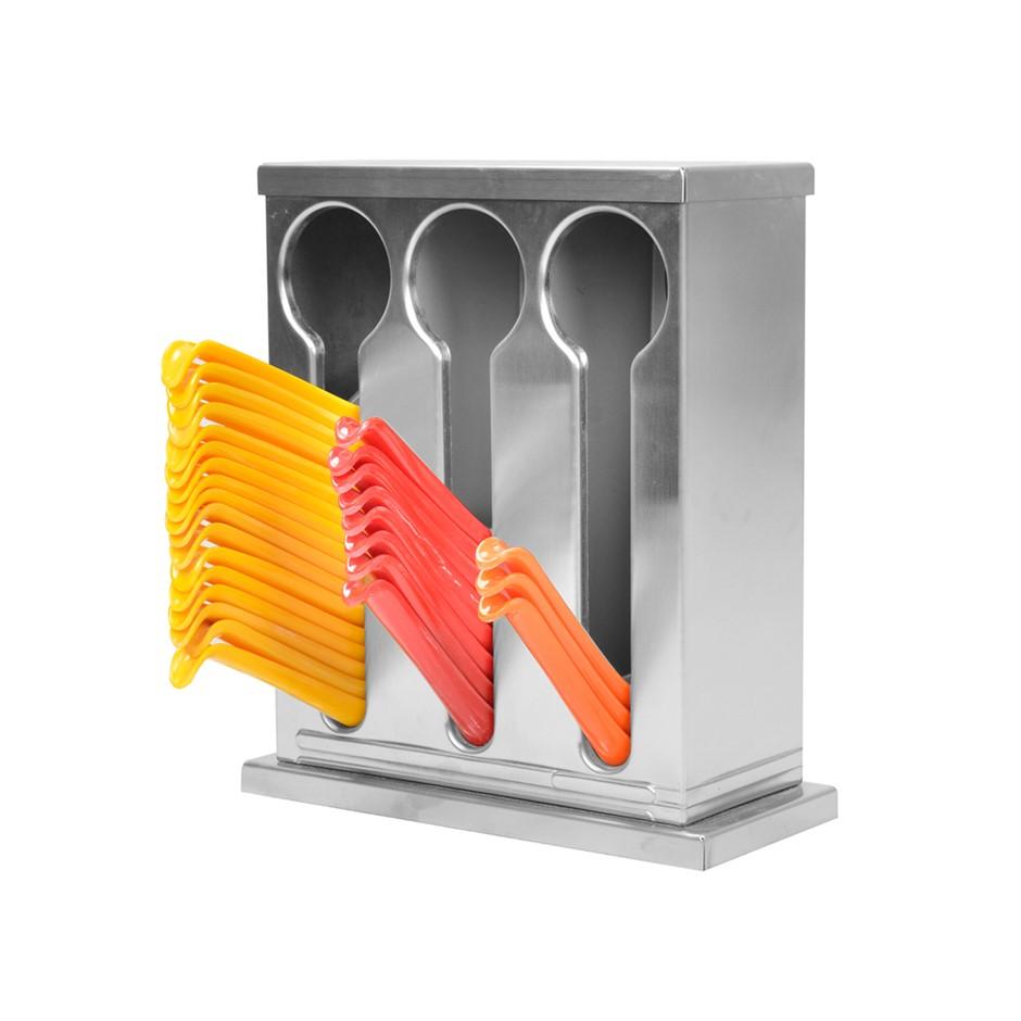 SOGA S/S Buffet Restaurant Spoon Utensil Holder Storage Rack 3 Holes
