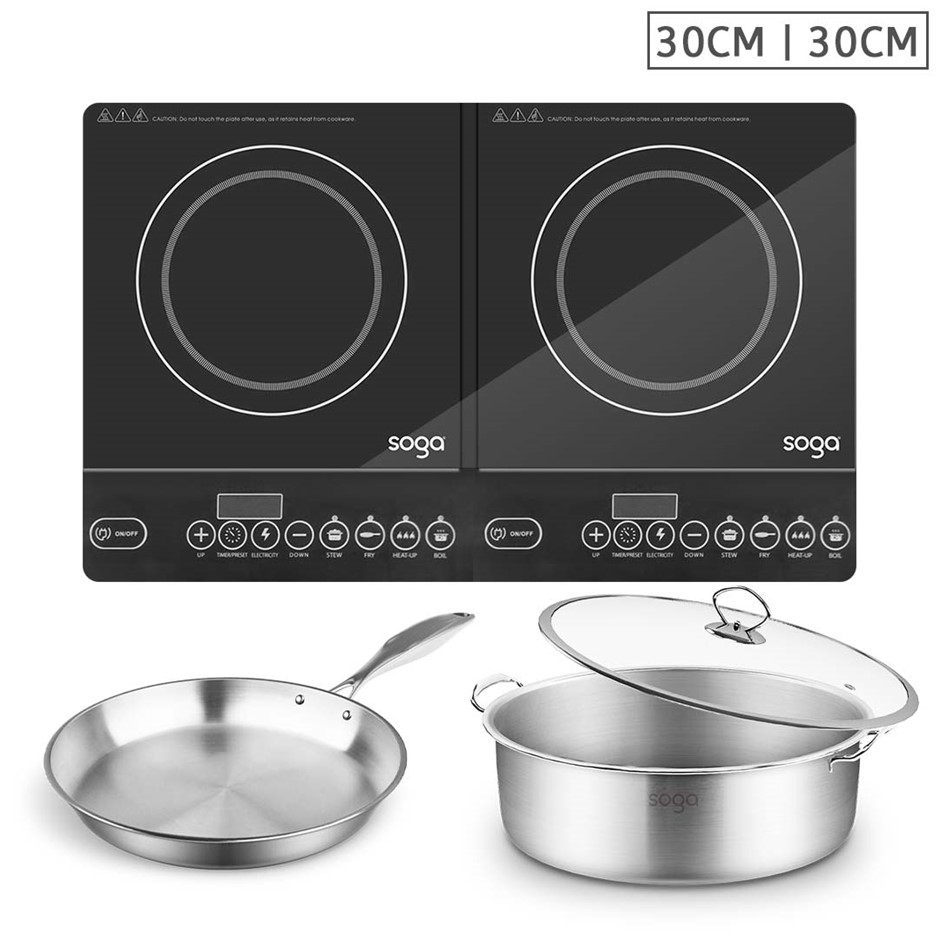 SOGA Dual Burners Cooktop Stove 30cm S/S Induction Casserole & 30cm Fry Pan