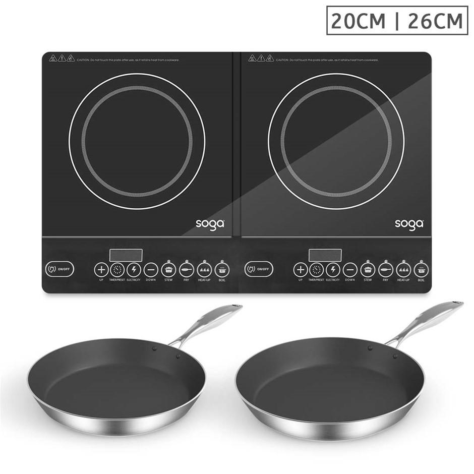 SOGA Dual Burners Cooktop Stove w/ 20cm & 26cm Induction Frying Pan Skillet