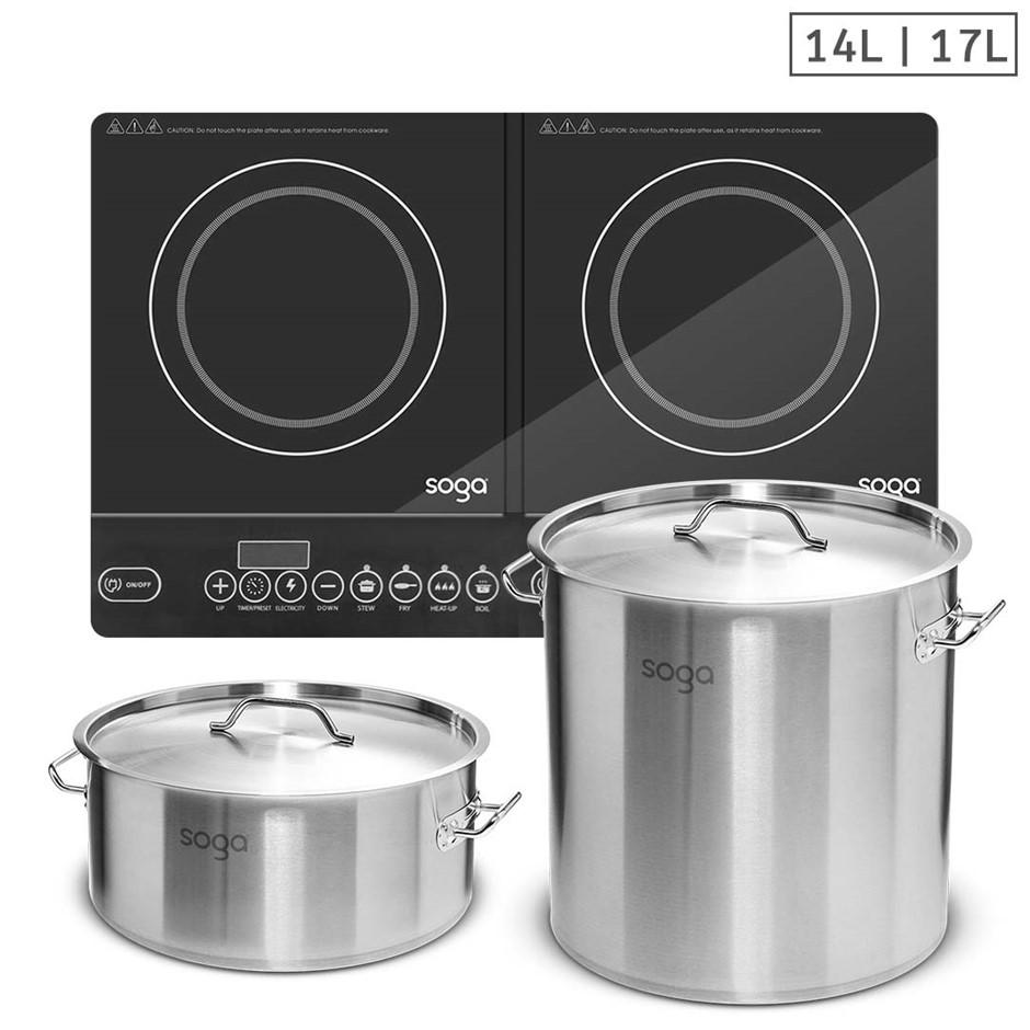 SOGA Dual Burners Cooktop Stove, 14L & 17L S/S Stockpot Top Grade Stock Pot