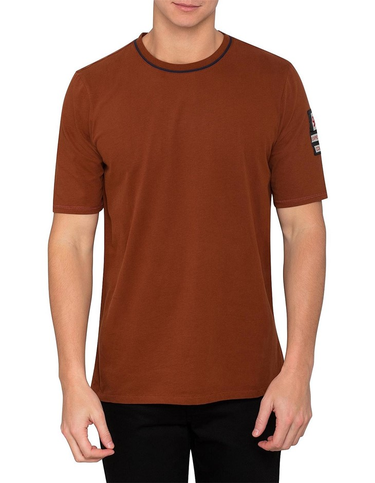 SCOTCH & SODA. Tee in Peached Jersey Quality with Special Sleeve Label. Siz