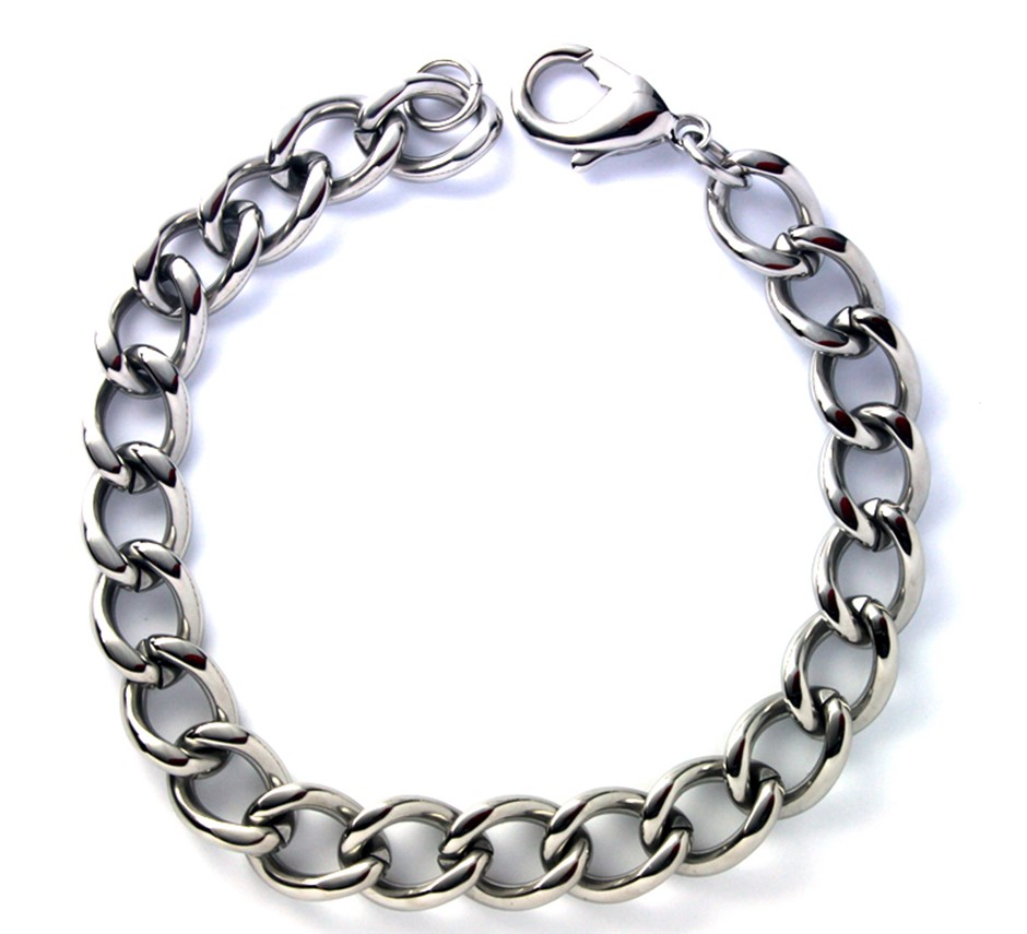 "Stainless steel curb bracelet 8"""