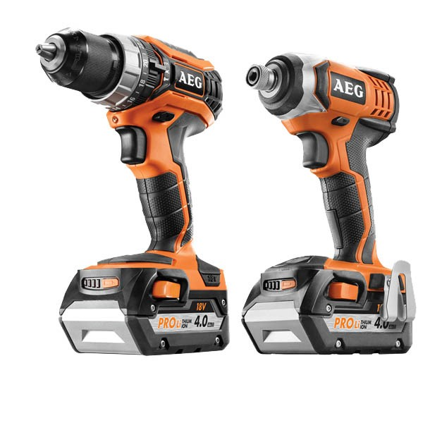 AEG 2PC 18v Cordless Drill Kit Comprising Impact Drill, Hammer/Drill Driver