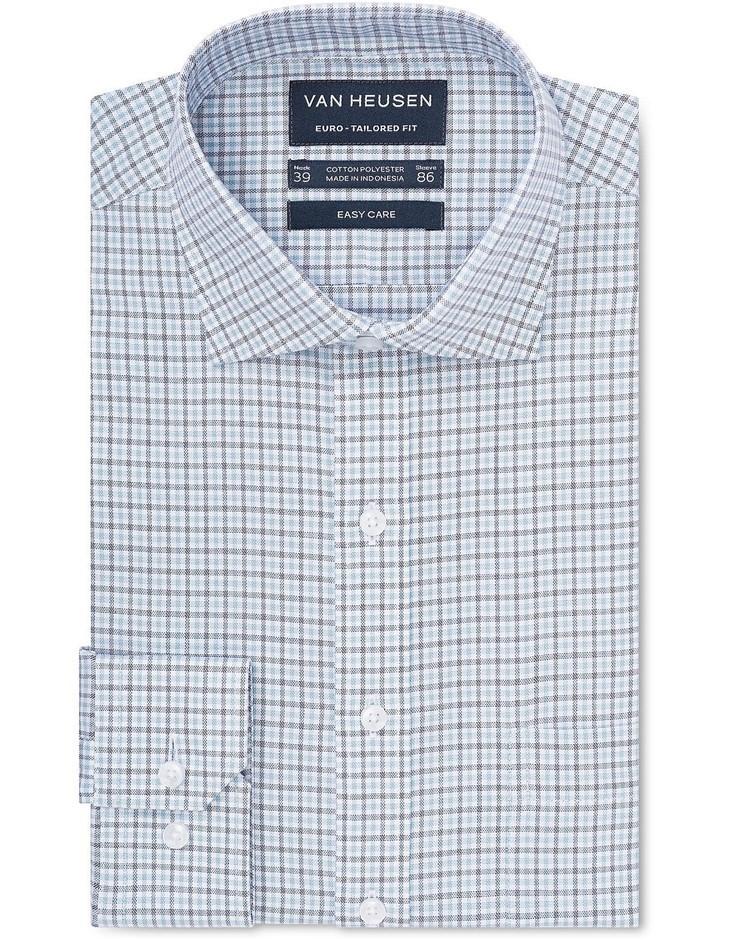 VAN HEUSEN White Ground Blue and Navy Check Shirt. Size 40. Cotton Blend. B