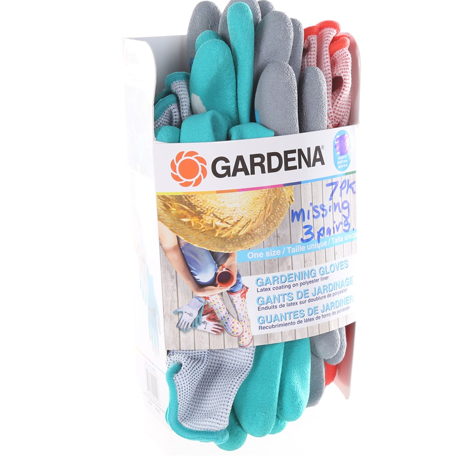 7 x GARDENA Gardening Gloves (Latex Coating) Buyers Note - Discount Freight