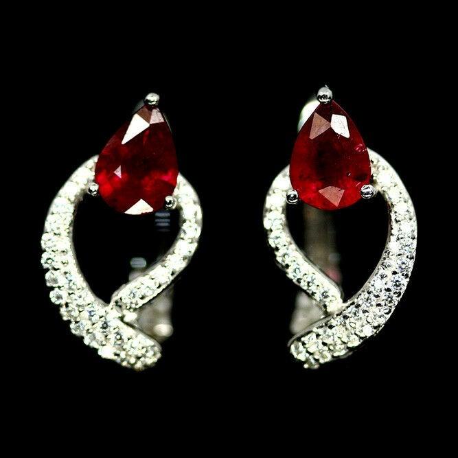 Striking Genuine Ruby Huggie Earrings.