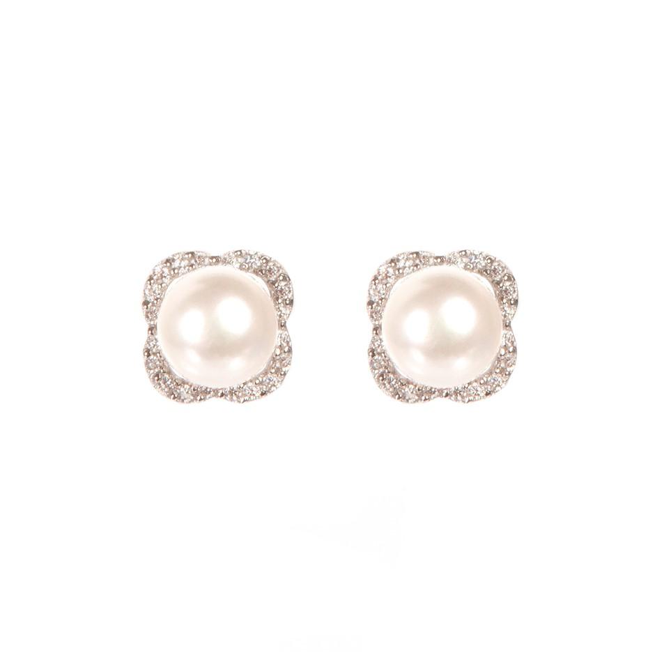 Freshwater White Button Pearl & Cubic Zirconia Set Earrings