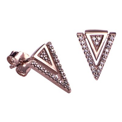 925 karat Sterling silver Pink Gold Plated White Cz Fancy Triangle Studs
