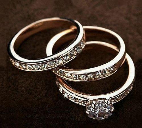 18K Rose Gold Filled Inlay Crystal Wedding Engagement Ring Set
