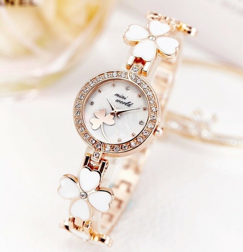 Luxury Rose Gold Stainless Steel Opal Crystal Round 4 Leaf Clover Watch